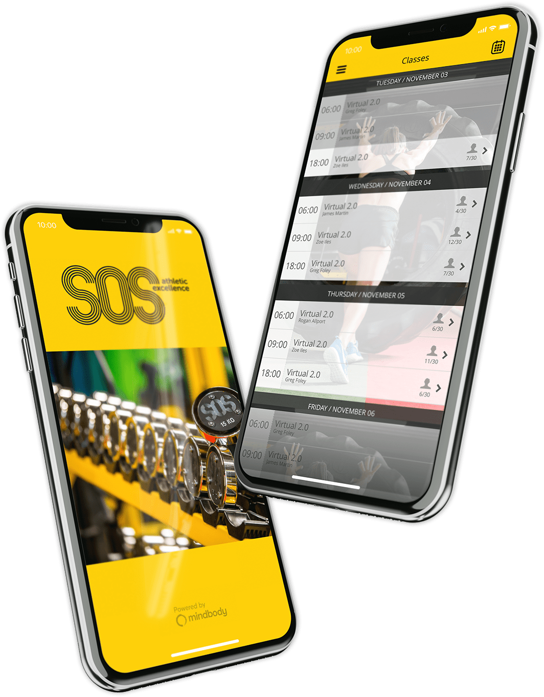 SOS Athletic Excellence App Displayed on iPhone 8 Plus